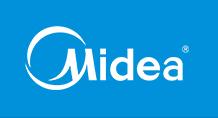 Logotipo Midea – blanco con fondo