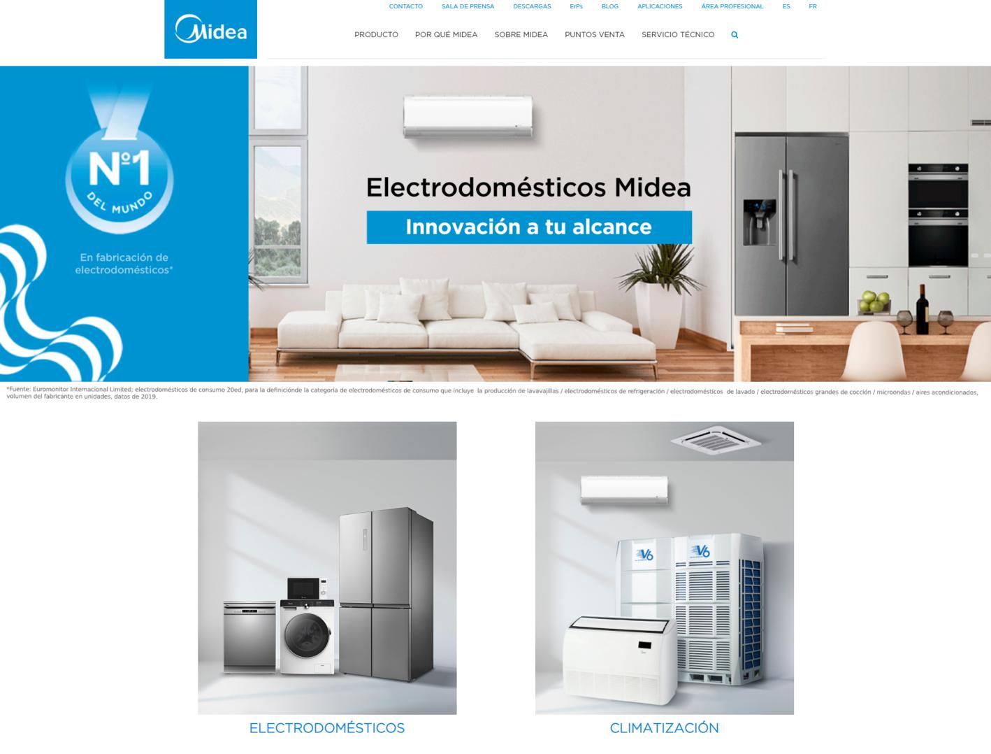 Midea electrodomésticos presenta su nueva web
